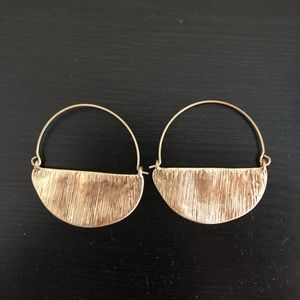 Gold, textured anthro hoops